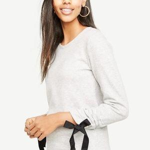 Ann Taylor Tie Sleeve Sweatshirt XS NWT